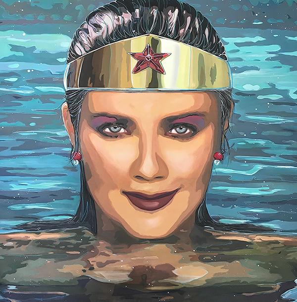 Wonder Woman Emerging, 2016, acrylic on canvas, 72x72 inch